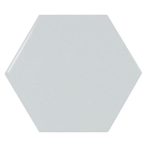 Carreau bleu ciel brillant 12.4x1 cm SCALE HEXAGON SKY BLUE -  - Echantillon - zoom