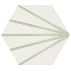 Tomette blanche à rayure verte motif dandelion MERAKI LINE VERDE 19.8x22.8 cm -   - Echantillon Bestile