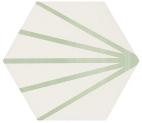 Tomette blanche à rayure verte motif dandelion MERAKI LINE VERDE 19.8x22.8 cm -   - Echantillon - zoom
