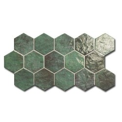 Carrelage tomette vert brillant 26.5x51 cm HEX ZELLIGE -   - Echantillon Realonda