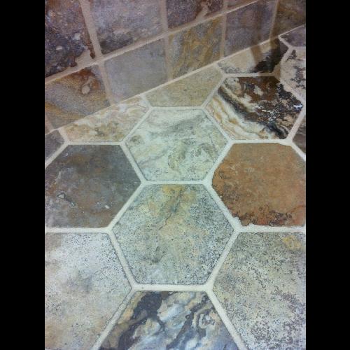 Sol travertin hexagonal 15x15 mix beige noce gris -   - Echantillon - zoom