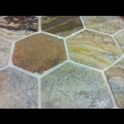 Sol travertin hexagonal 15x15 mix beige noce gris -   - Echantillon SF