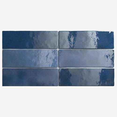 Carrelage effet zellige 6.5x20 ARTISAN BLEU COLONIAL 24470 - 0.  - Echantillon - zoom