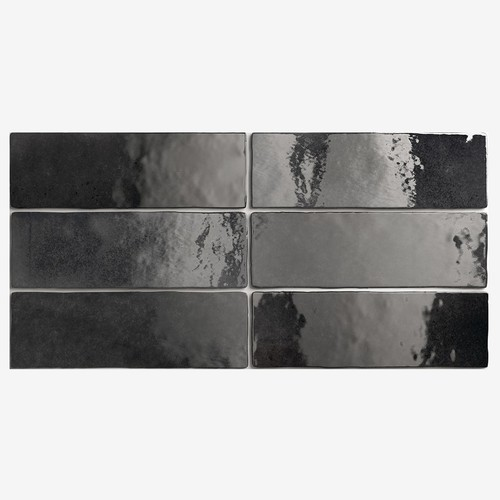 Carrelage effet zellige 6.5x20 ARTISAN NOIR GRAPHITE 24472 - 0.  - Echantillon Equipe