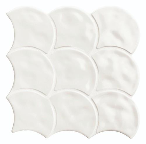 Carreau écailles blanches brillantes 30x30 SCALE GLOSS WHITE -    - Echantillon - zoom