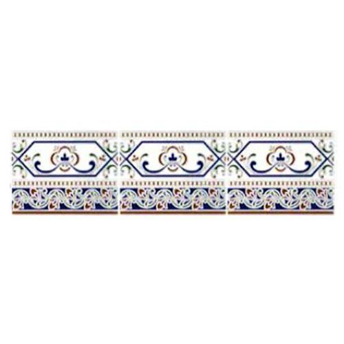 Azulejo Sevillano Frise Cenefa Cadiz 15x20 cm -  - Echantillon - zoom
