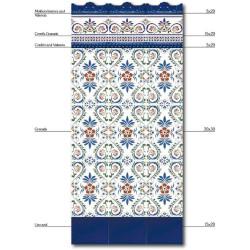 Azulejo Sevillano GRANADA frise 3x20 cm CORDON COLLECTION ZOCALO - - Echantillon Ribesalbes