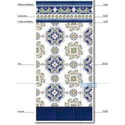Azulejo Sevillano JEREZ frise 3x20 cm CORDON COLLECTION ZOCALO - - Echantillon Ribesalbes