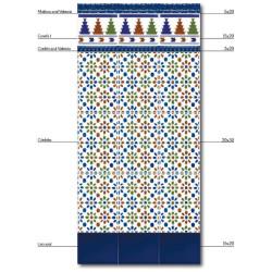 Azulejo Sevillano Liso Azul 15x20 carreau bleu marine -  - Echantillon Ribesalbes
