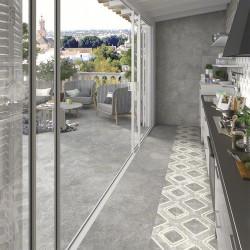 Carrelage moderne extérieur gris ciment 60x60 cm antidérapant DELTA CEMENTO R13 -   - Echantillon Vives Azulejos y Gres