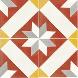 Carreau de ciment décor géométrique rouge 20x20 cm ref1150-1 -   - Echantillon Carreaux ciment véritables