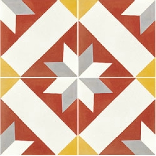 Carreau de ciment décor géométrique rouge 20x20 cm ref1150-1 -   - Echantillon - zoom