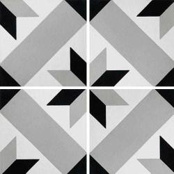 Carreau de ciment décor géométrique gris 20x20 cm ref1150-7 -   - Echantillon Carreaux ciment véritables