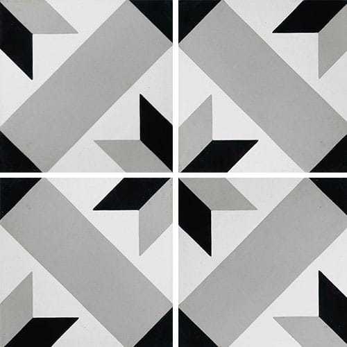 Carreau de ciment décor géométrique gris 20x20 cm ref1150-7 -   - Echantillon - zoom