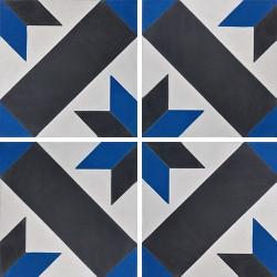 Carreau de ciment décor géométrique bleu et noir 20x20 cm ref1150-13 -   - Echantillon Carreaux ciment véritables