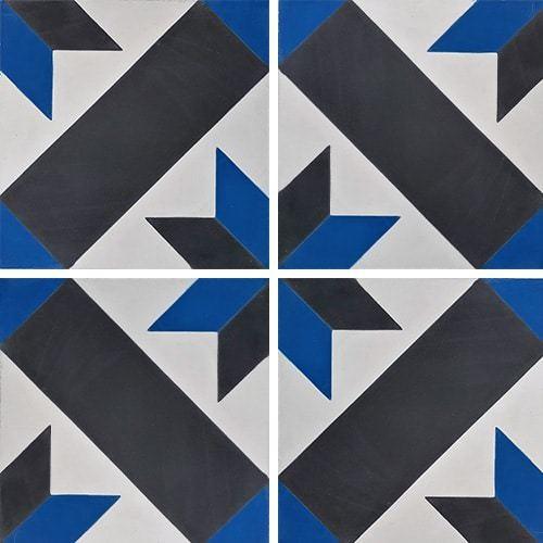 Carreau de ciment décor géométrique bleu et noir 20x20 cm ref1150-13 -   - Echantillon - zoom