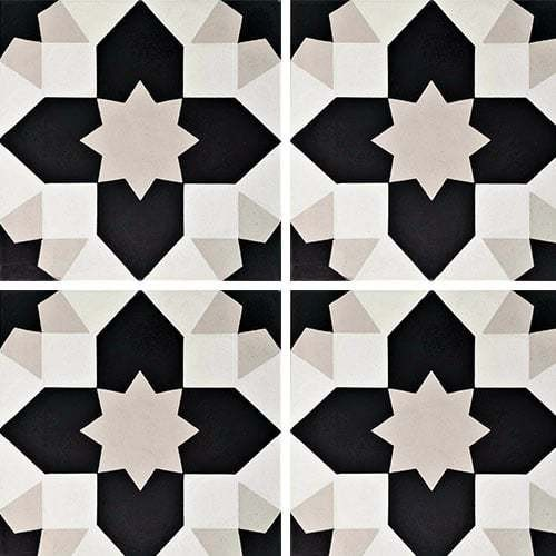 Carreau de ciment géométrique gris et noir 20x20 cm ref7590-1 -   - Echantillon Carreaux ciment véritables