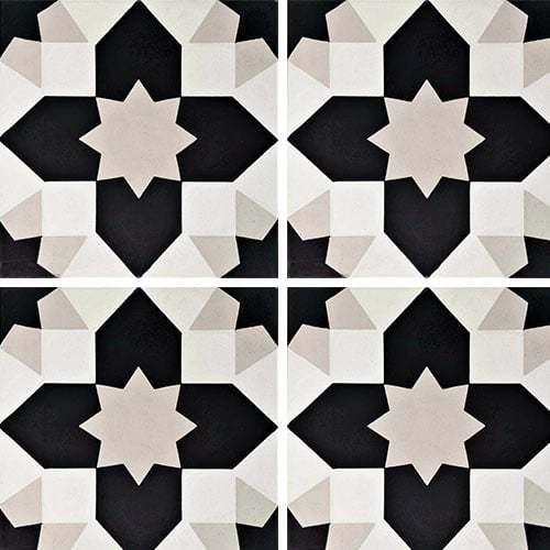 Carreau de ciment géométrique gris et noir 20x20 cm ref7590-1 -   - Echantillon - zoom