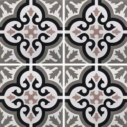 Carreau de ciment motif ancien floral noir et rose 20x20 cm ref7900-13 -   - Echantillon Carreaux ciment véritables