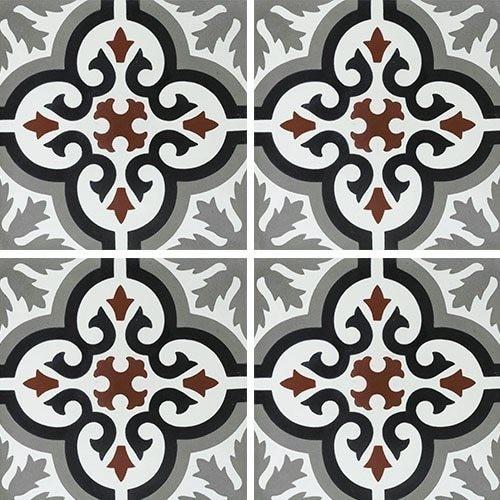 Carreau de ciment motif ancien floral noir et rouge 20x20 cm ref7900-4 -   - Echantillon Carreaux ciment véritables