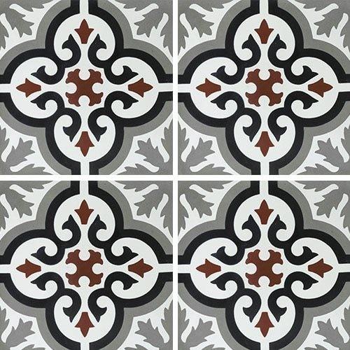 Carreau de ciment motif ancien floral noir et rouge 20x20 cm ref7900-4 -   - Echantillon - zoom