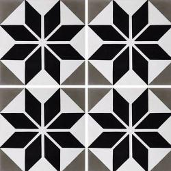 Carreau de ciment décor étoile noire 20x20 cm ref7070-2 -   - Echantillon Carreaux ciment véritables