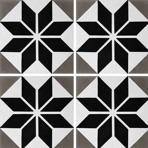 Carreau de ciment décor étoile noire 20x20 cm ref7070-2 -   - Echantillon - zoom