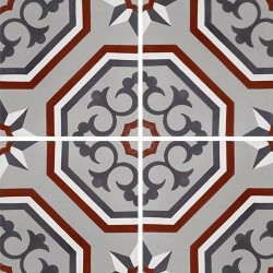 Carreau de ciment véritable motif floral arabesque 20x20 cm ref7340-2 -   - Echantillon Carreaux ciment véritables
