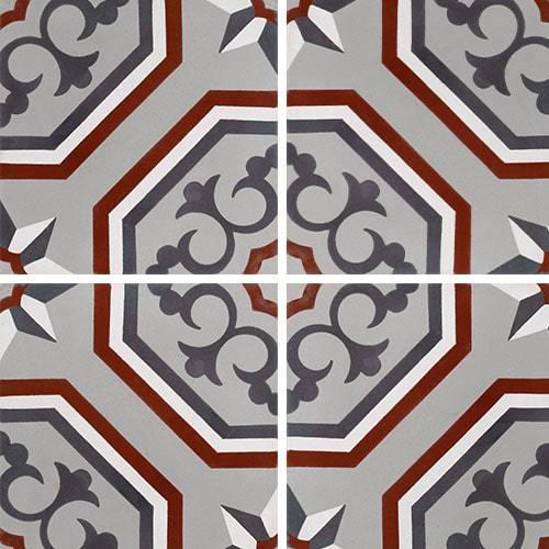 Carreau de ciment véritable motif floral arabesque 20x20 cm ref7340-2 -   - Echantillon - zoom