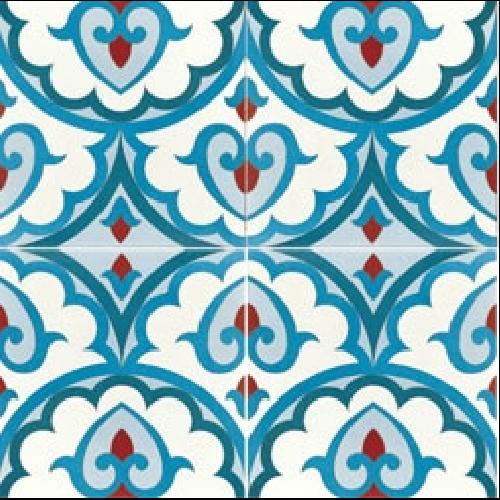 Carreau de ciment décor bleu rouge géométrique 20x20 cm ref7920-2 -   - Echantillon - zoom