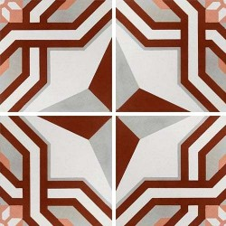 Carreau de ciment décor étoile rouge 20x20 cm ref1200-2 -   - Echantillon Carreaux ciment véritables
