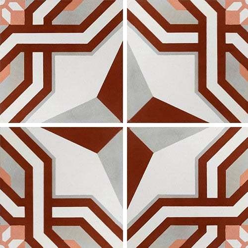 Carreau de ciment décor étoile rouge 20x20 cm ref1200-2 -   - Echantillon - zoom