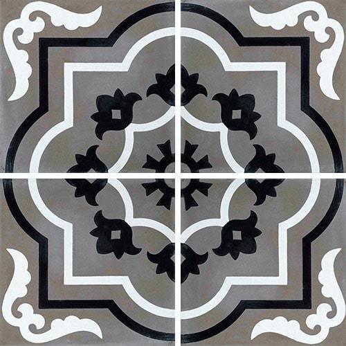 Carreau de ciment véritable motif floral stylisé black and white 20x20 cm ref7330-3 -   - Echantillon Carreaux ciment véritables