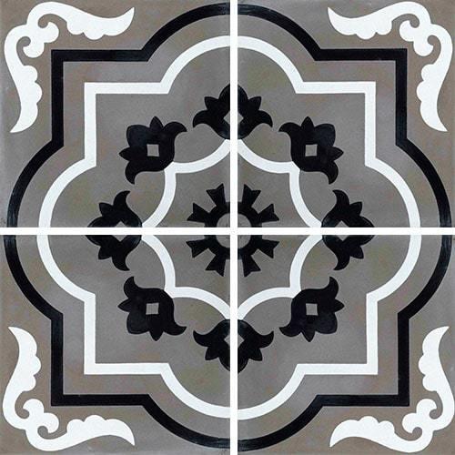 Carreau de ciment véritable motif floral stylisé black and white 20x20 cm ref7330-3 -   - Echantillon - zoom