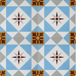 Carreau de ciment décor étoile multicolor 20x20 cm ref7600-2 -   - Echantillon Carreaux ciment véritables