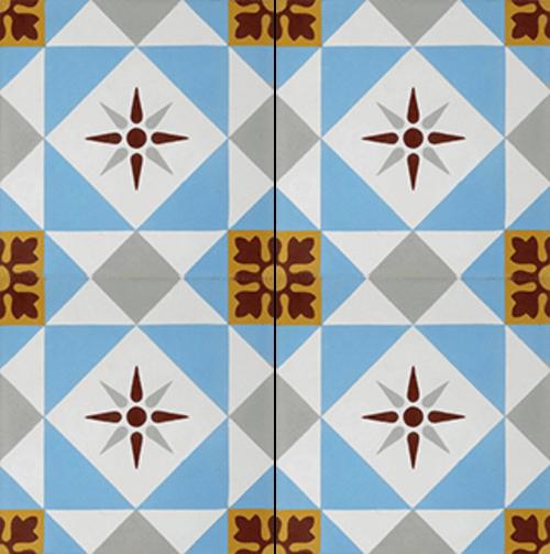 Carreau de ciment décor étoile multicolor 20x20 cm ref7600-2 -   - Echantillon - zoom
