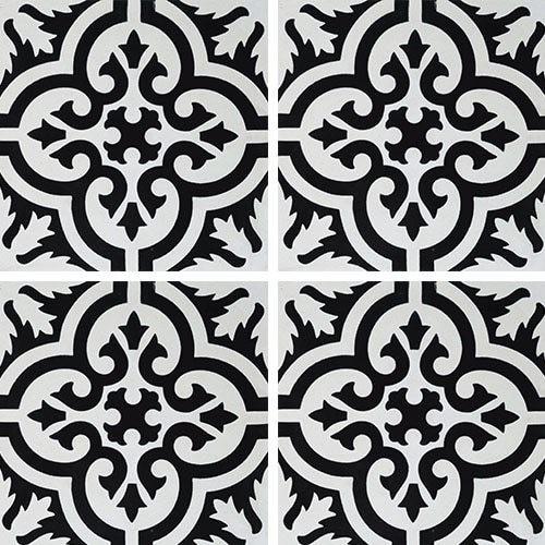 Carreau de ciment motif ancien floral noir et blanc 20x20 cm ref7900-7 -   - Echantillon Carreaux ciment véritables