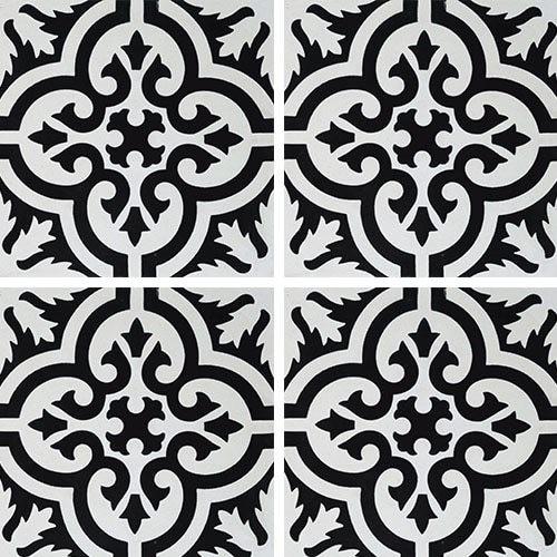 Carreau de ciment motif ancien floral noir et blanc 20x20 cm ref7900-7 -   - Echantillon - zoom