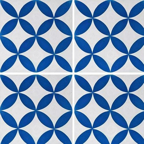 Carreau de ciment véritable Quatre-feuilles bleu 20x20 cm ref7180-2 -   - Echantillon Carreaux ciment véritables
