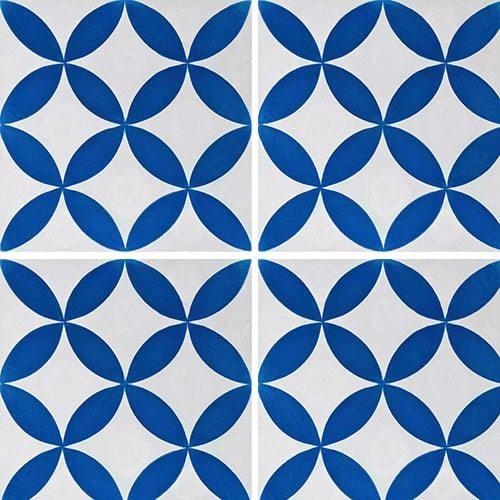 Carreau de ciment véritable Quatre-feuilles bleu 20x20 cm ref7180-2 -   - Echantillon - zoom