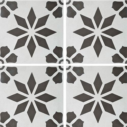 Carreau de ciment décor étoile fleur grise 20x20 cm ref7190-1 -   - Echantillon - zoom