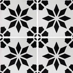 Carreau de ciment décor étoile fleur noire 20x20 cm ref7190-3 -   - Echantillon Carreaux ciment véritables