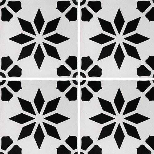 Carreau de ciment décor étoile fleur noire 20x20 cm ref7190-3 -   - Echantillon - zoom