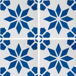 Carreau de ciment décor étoile fleur bleue 20x20 cm ref7190-2 -   - Echantillon Carreaux ciment véritables