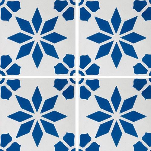 Carreau de ciment décor étoile fleur bleue 20x20 cm ref7190-2 -   - Echantillon - zoom