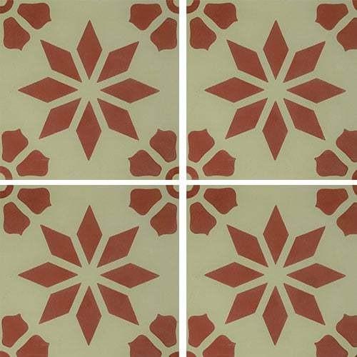 Carreau de ciment décor étoile fleur rouge 20x20 cm ref7190-4 -   - Echantillon Carreaux ciment véritables