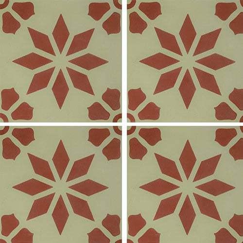 Carreau de ciment décor étoile fleur rouge 20x20 cm ref7190-4 -   - Echantillon - zoom