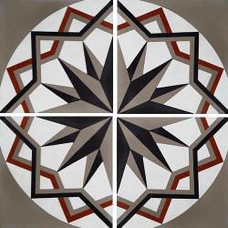 Carreau de ciment décor étoile anthracite noir 20x20 cm ref7010-2 -   - Echantillon Carreaux ciment véritables