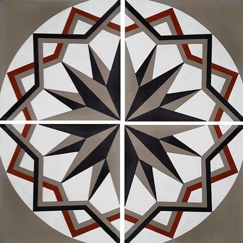 Carreau de ciment décor étoile anthracite noir 20x20 cm ref7010-2 -   - Echantillon - zoom