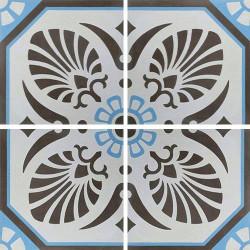 Carreau de ciment décoré gris bleu 20x20 cm ref7690-2 -   - Echantillon Carreaux ciment véritables